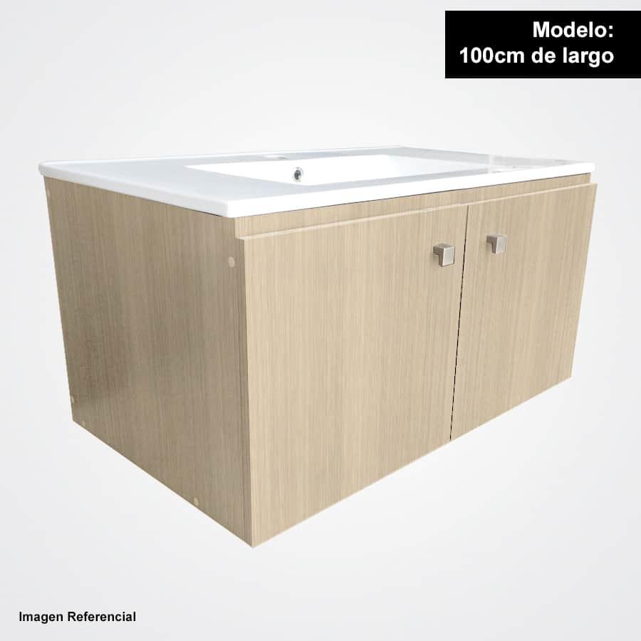 Sotille 100 acacia mueble suspendido con lavamanos sotille for Lavamanos suspendido